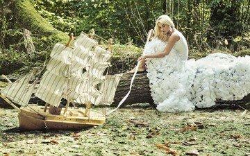вода, природа, блондинка, парусник, модель, сёрьги, белое платье, кораблик