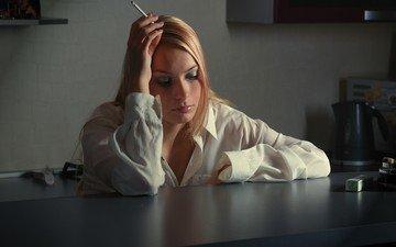mood, blonde, table, kitchen, cigarette, shirt