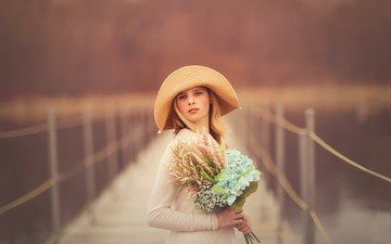 flowers, girl, blonde, portrait, bridge, hat