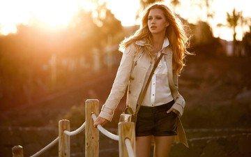 the sun, sunset, girl, blonde, shorts, long hair, coat