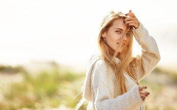 blonde, portrait, model, blue eyes, photoshoot, long hair, alena ushkova