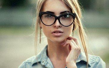 girl, blonde, portrait, glasses, face, alina, maks kuzin