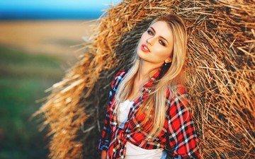 blonde, portrait, hay, model, straw, shirt, long hair