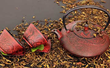 tea, kettle, cup, tradition, tea leaves
