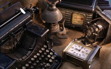 vintage, lamp, watch, dust, camera, radio, typewriter, antiques