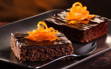 апельсин, шоколад, сладкое, десерт, пирожные, пирожное, цедра, цедра апельсина