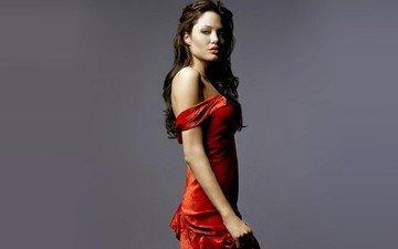 девушка, брюнетка, взгляд, волосы, лицо, анджелина джоли, знаменитость, красном платье