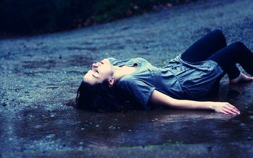 девушка, настроение, дождь, волосы, лицо, мокрая, закрытые глаза