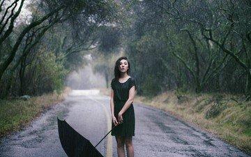 дорога, девушка, брюнетка, взгляд, дождь, волосы, зонт, лицо, whitney justesen