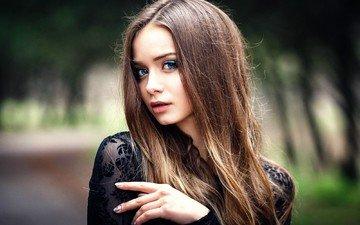 девушка, портрет, модель, фотосессия, длинные волосы, денис петров