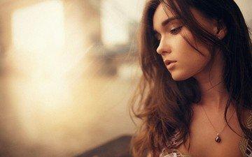 девушка, портрет, брюнетка, модель, кулон, фотосессия, длинные волосы