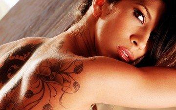 взгляд, модель, тату, спина, татуировка, азиатка, крупным планом