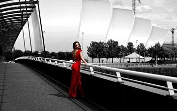 девушка, мост, город, фигура, красное платье, стоит