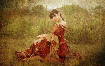трава, девушка, платье, взгляд, волосы, лицо, лужайка