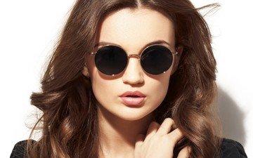 девушка, взгляд, очки, модель, волосы, макияж, позирует