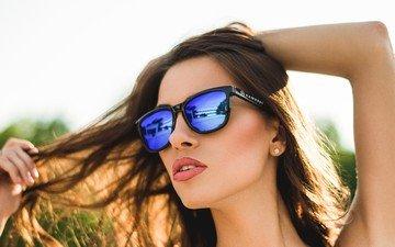стиль, девушка, взгляд, модель, волосы, лицо, солнцезащитные очки