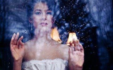 девушка, брюнетка, капли, взгляд, дождь, волосы, лицо, окно, руки, стекло, ладони