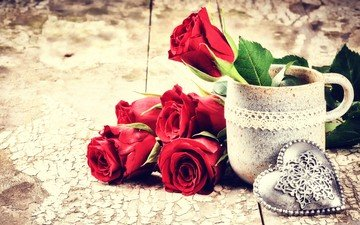flowers, roses, heart, mug, bouquet, valentine's day, 14 feb
