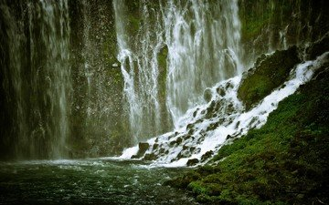 горы, камни, водопад, поток, ущелье, мох