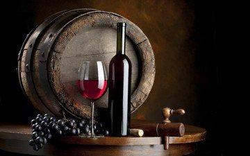 grapes, glass, wine, bottle, barrel, red wine