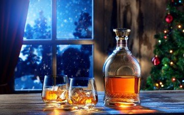 new year, tree, drink, ice, window, glass, bottle, cognac, whiskey