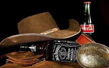 напитки, бутылки, алкоголь, шляпа, натюрморт, кока-кола, виски, кола, джек дэниелс, ковбойская шляпа, jack daniel's, jack daniel