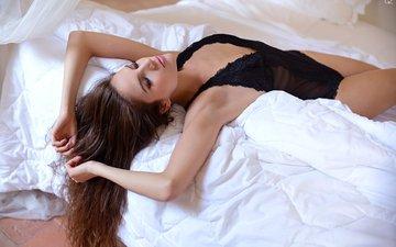 девушка, волосы, лицо, макияж, закрытые глаза, в постели, giozac