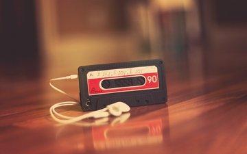 наушники, телефон, кассета, айфон, эппл, магнитная лента, аудиозапись