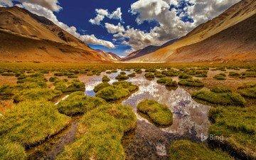 небо, облака, река, холмы, природа, камни, ручей, индия