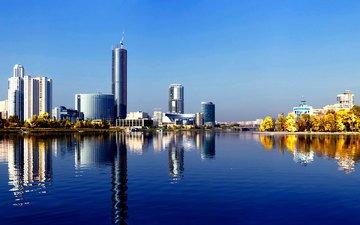 отражение, россия, набережная, екатеринбург