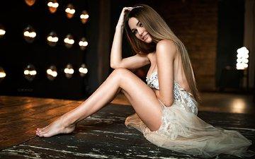 платье, улыбка, модель, ножки, невеста, фотосессия, длинные волосы, сидя, иван горохов