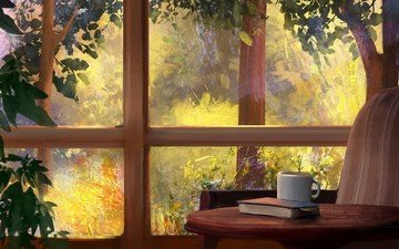 trees, nature, interior, items, table, window, cup, book, mandy jurgens