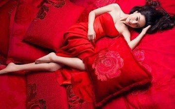 девушка, взгляд, волосы, лицо, актриса, кровать, макияж, азиатка, в красном, фань бинбин, постельное белье