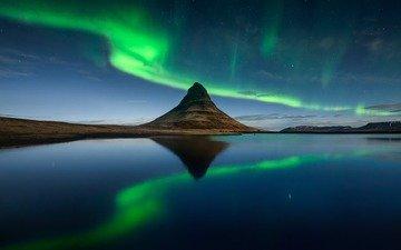 озеро, пейзаж, гора, северное сияние, вулкан, исландия