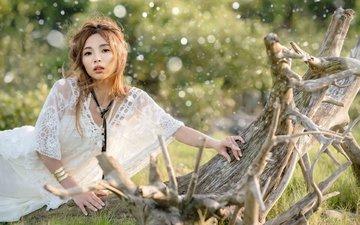 природа, девушка, лето, взгляд, модель, волосы, лицо, азиатка