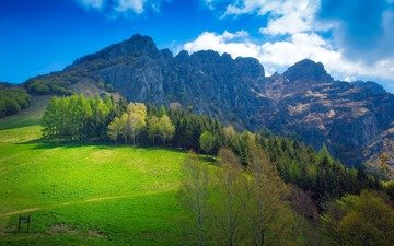 небо, облака, деревья, горы, природа, италия, долина