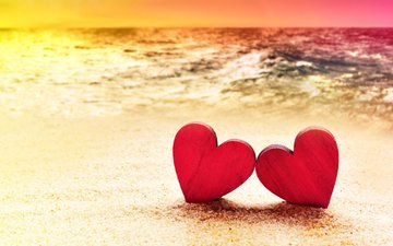 sunset, sea, sand, beach, heart, hearts