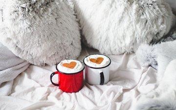 утро, кофе, кружки, любовь, сердечки, уют