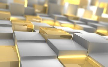кубики, квадраты, серебро, 3д, золото.
