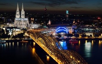 night, lights, river, the city, architecture, building, germany, cologne, cologne cathedral, rhine, hohenzollern bridge