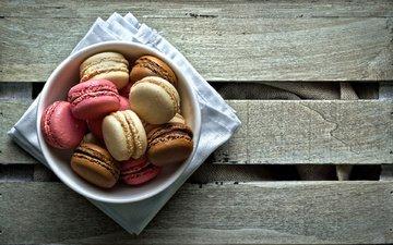 тарелка, сладость, печенье, десерт, макаруны