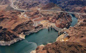 дорога, скалы, природа, берег, пейзаж, каньон, река колорадо, плотина гувера, hoover dam