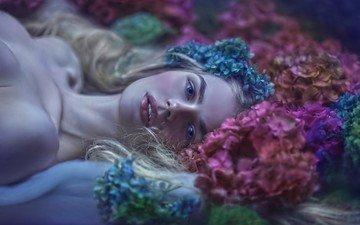 глаза, цветы, девушка