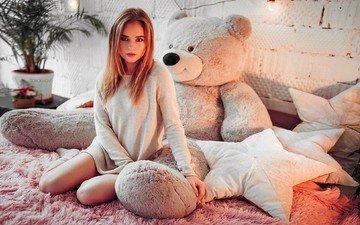 girl, blonde, sitting, wall, actress, socks, in bed, teddy bear, ivan gorokhov, polina grents