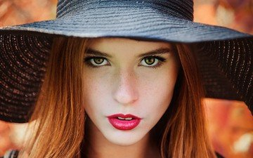 girl, portrait, look, hair, face, hat, red lipstick, freckles