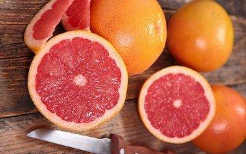 фрукты, нож, цитрусы, грейпфрут