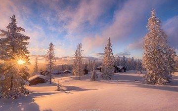 небо, свет, облака, деревья, солнце, снег, природа, лес, зима, пейзаж, домики, дома