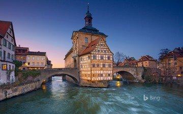 река, отражение, мост, город, дома, германия, норвегия, bing, ратуша, тронхейм, бамберг