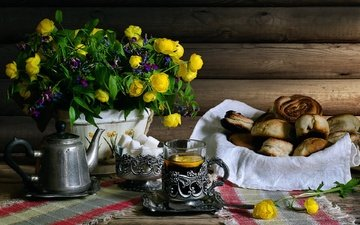flowers, lemon, bouquet, tea, sugar, cakes, still life, buns, muffin