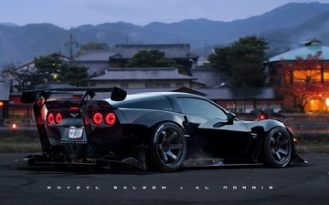 black, race, future, car, tuning, chevrolet, corvette, c6, corvette c6
